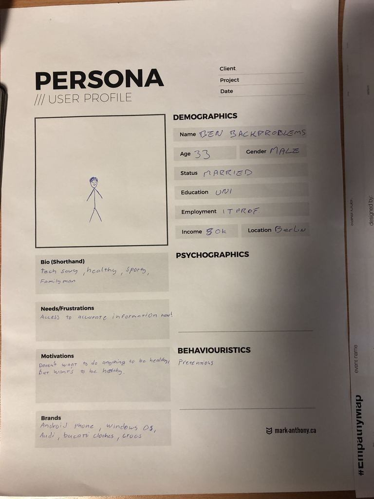 User persona to define the possible client